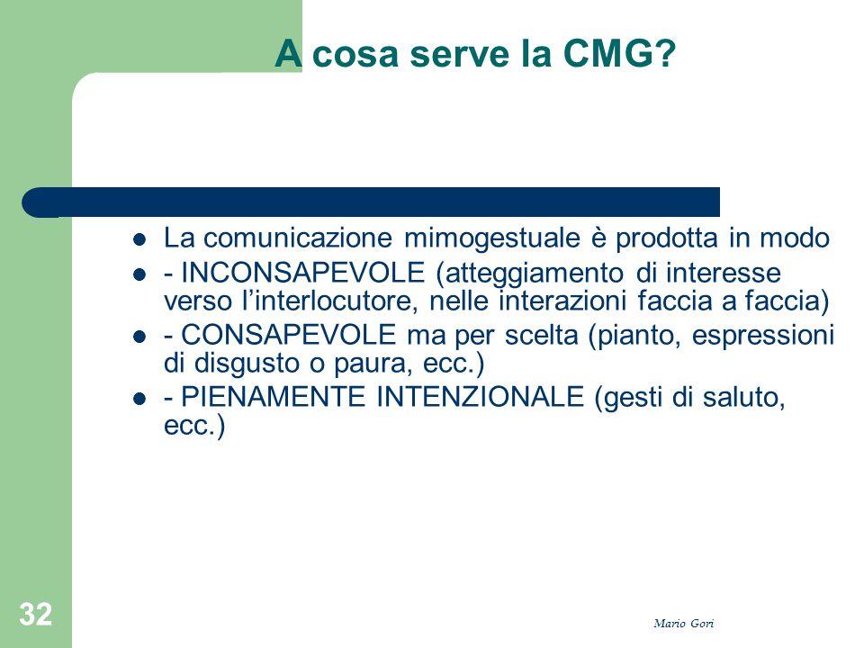 A cosa serve la CMG La comunicazione mimogestuale è prodotta in modo