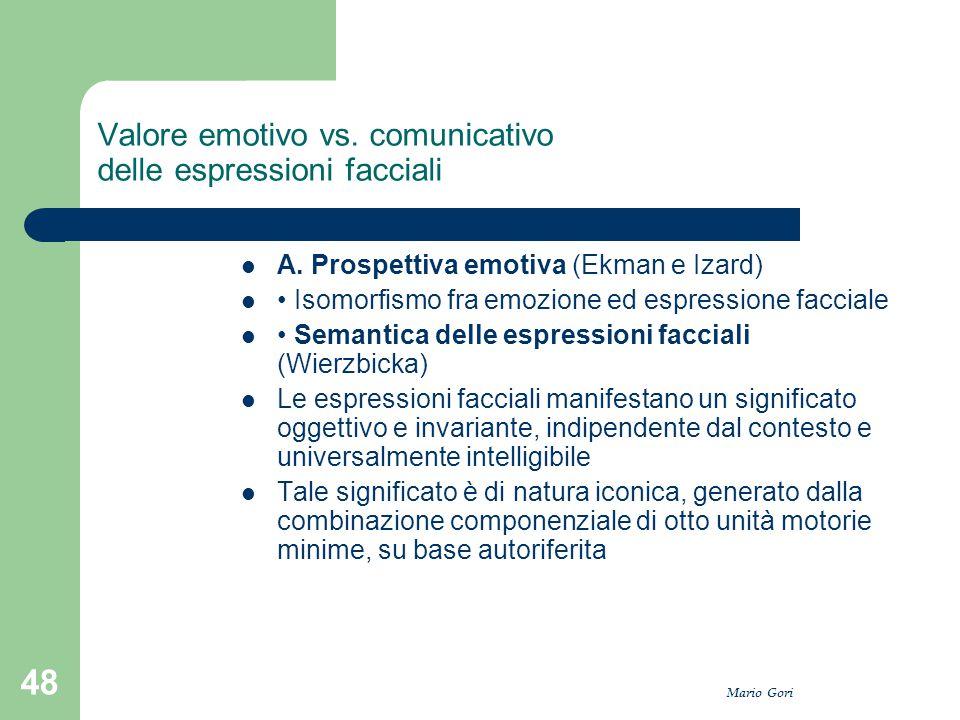 Valore emotivo vs. comunicativo delle espressioni facciali