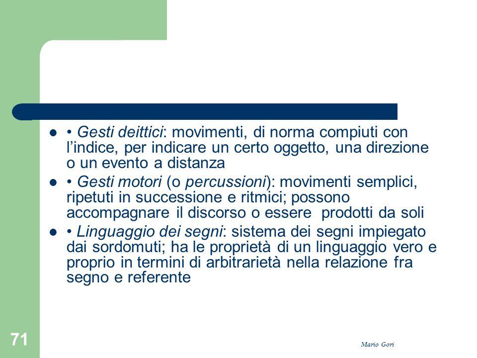 • Gesti deittici: movimenti, di norma compiuti con l'indice, per indicare un certo oggetto, una direzione o un evento a distanza
