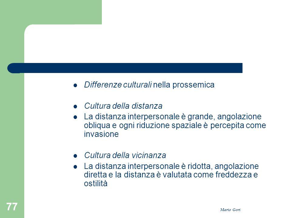 Differenze culturali nella prossemica Cultura della distanza