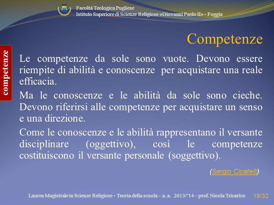 Competenze Le competenze da sole sono vuote. Devono essere riempite di abilità e conoscenze per acquistare una reale efficacia.