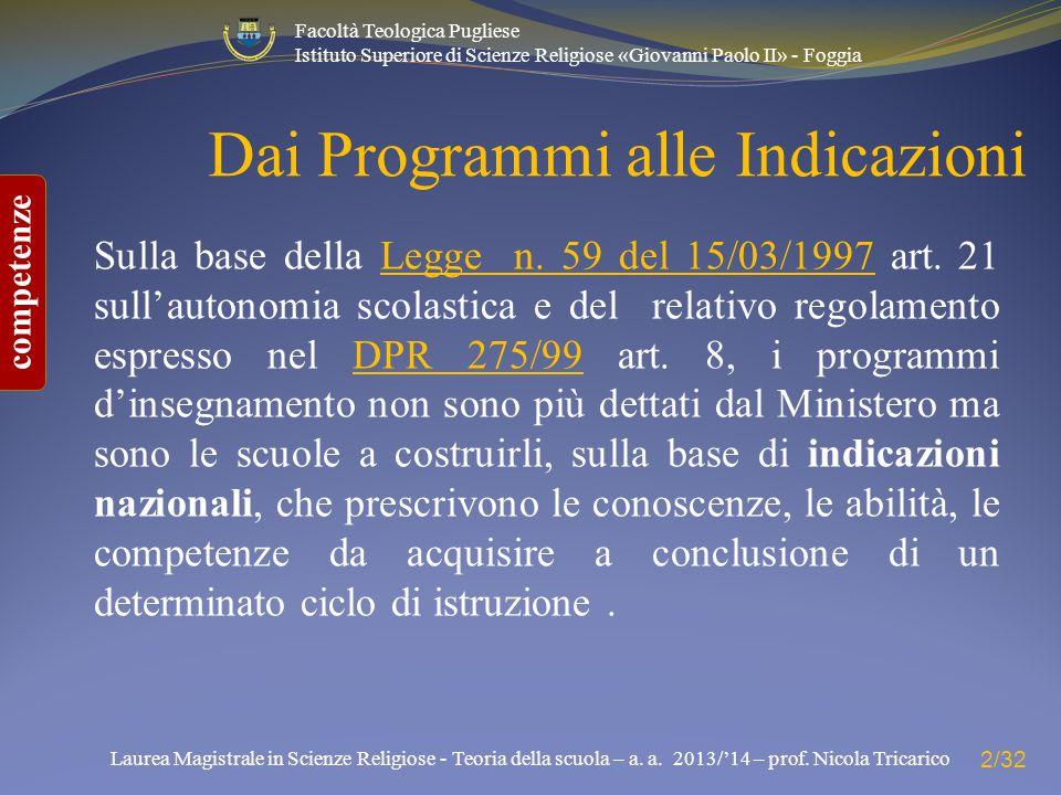 Dai Programmi alle Indicazioni
