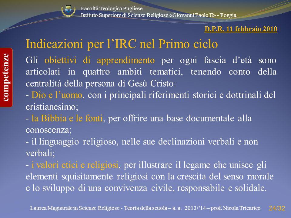 Indicazioni per l'IRC nel Primo ciclo