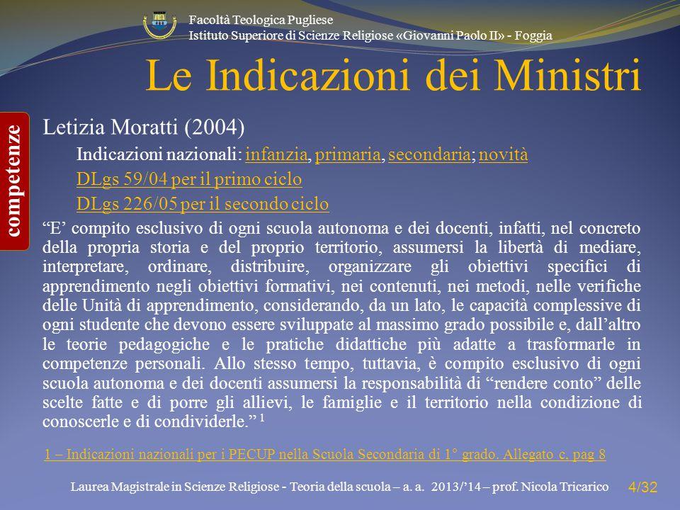 Le Indicazioni dei Ministri