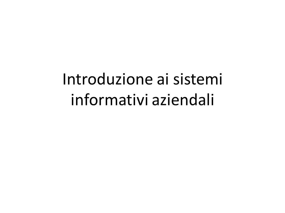 Introduzione ai sistemi informativi aziendali