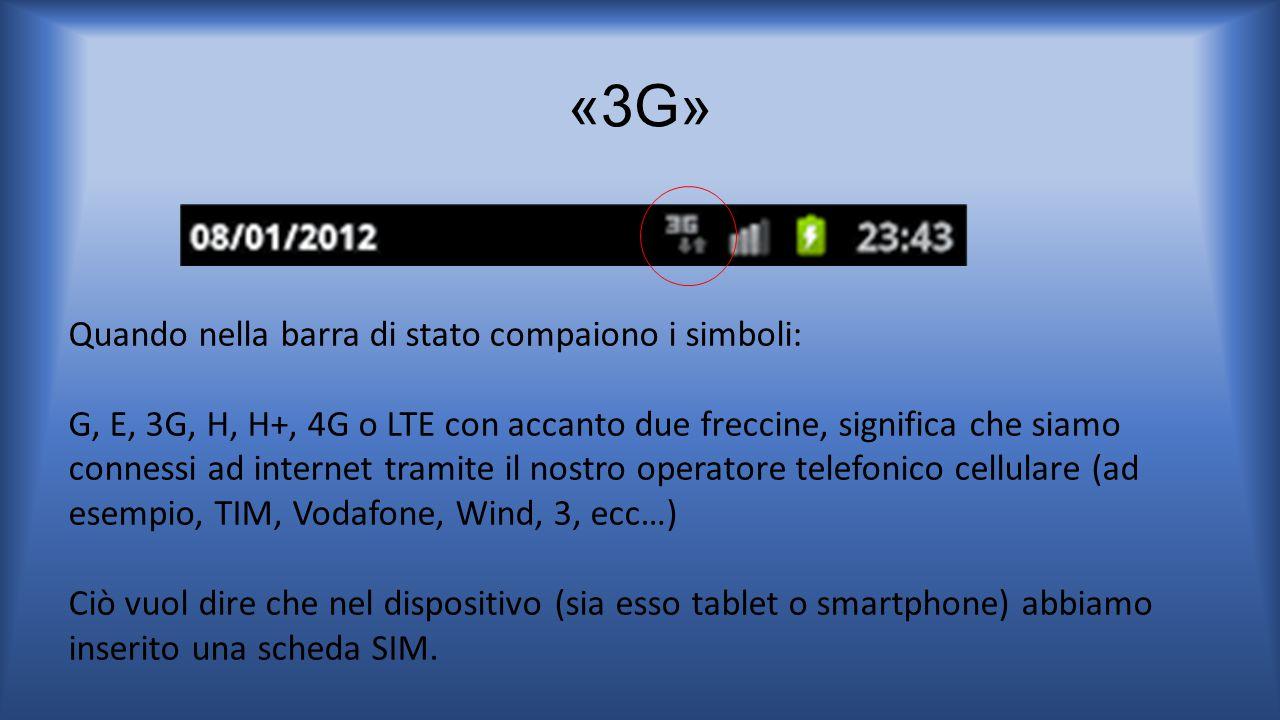 «3G» Quando nella barra di stato compaiono i simboli: