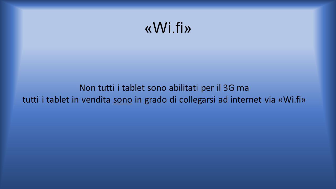 Non tutti i tablet sono abilitati per il 3G ma