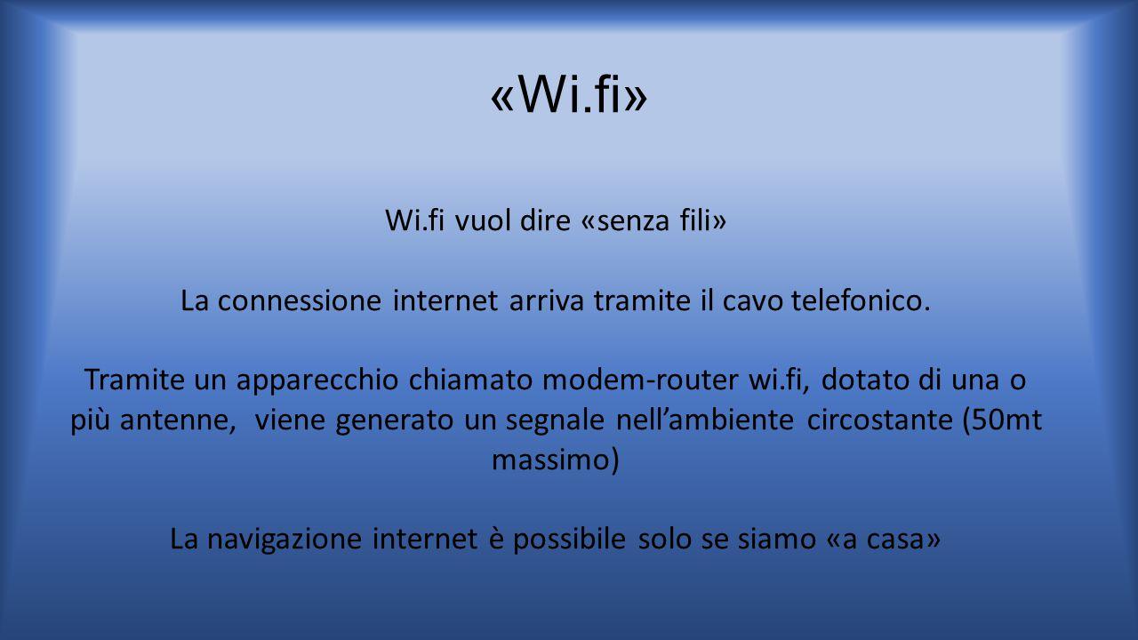 «Wi.fi» Wi.fi vuol dire «senza fili»