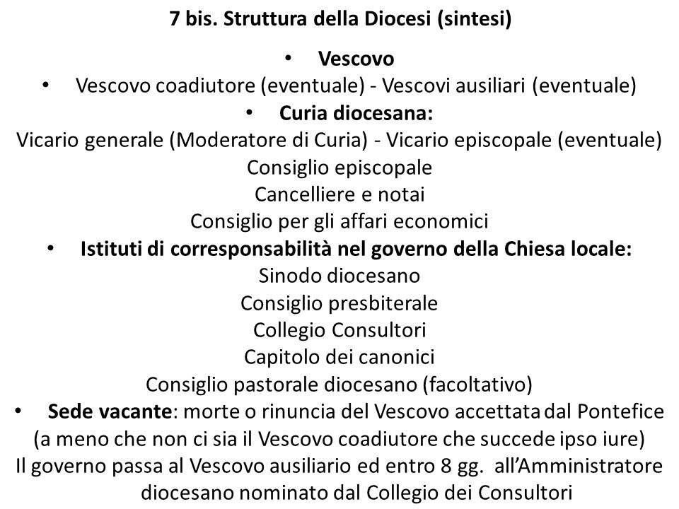 7 bis. Struttura della Diocesi (sintesi)