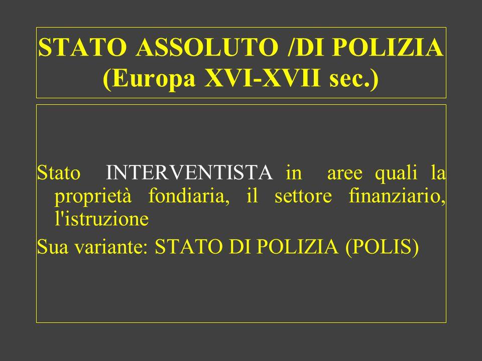 STATO ASSOLUTO /DI POLIZIA (Europa XVI-XVII sec.)