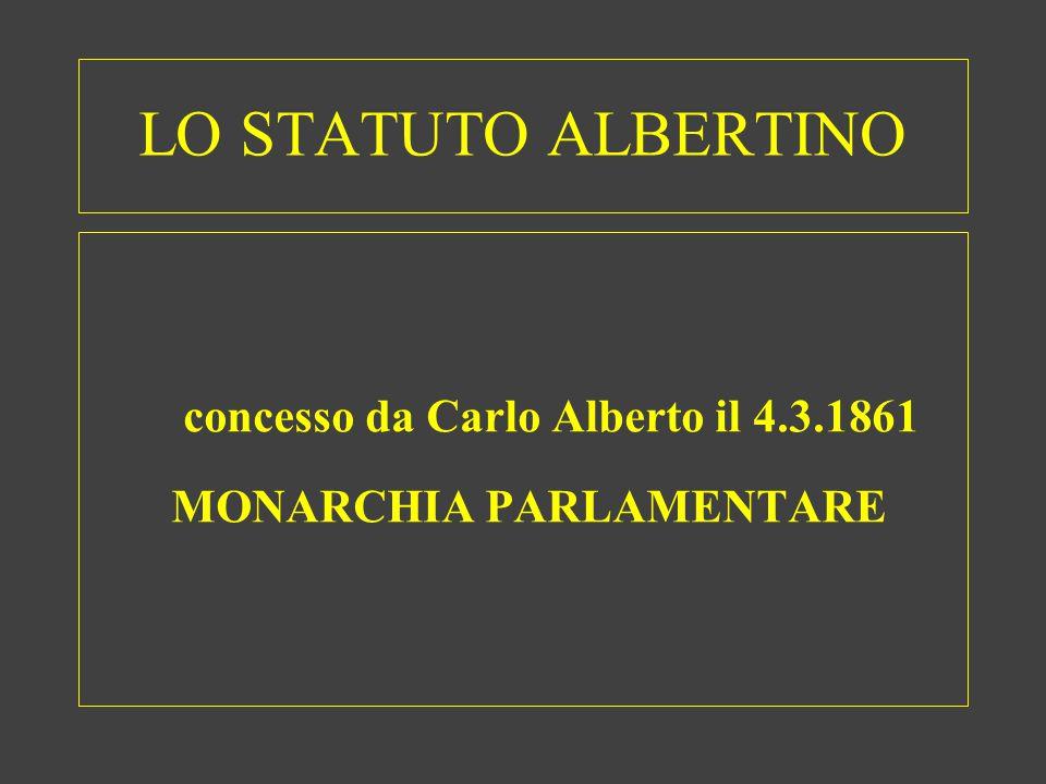 concesso da Carlo Alberto il 4.3.1861 MONARCHIA PARLAMENTARE