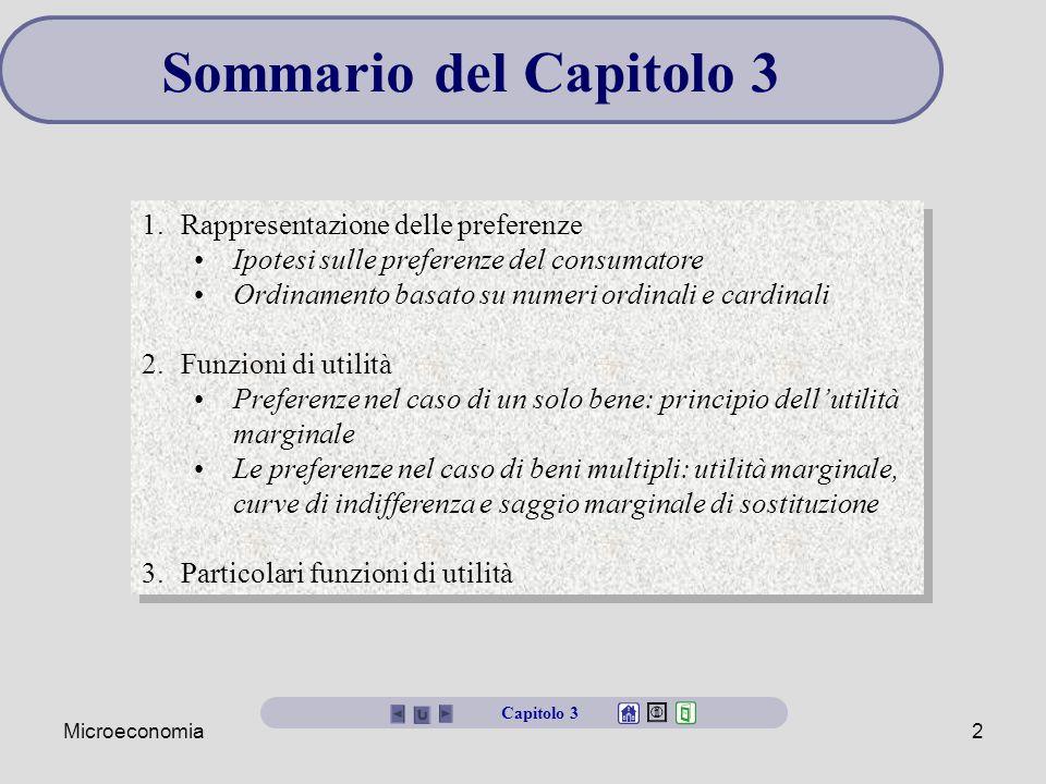 Sommario del Capitolo 3 Rappresentazione delle preferenze