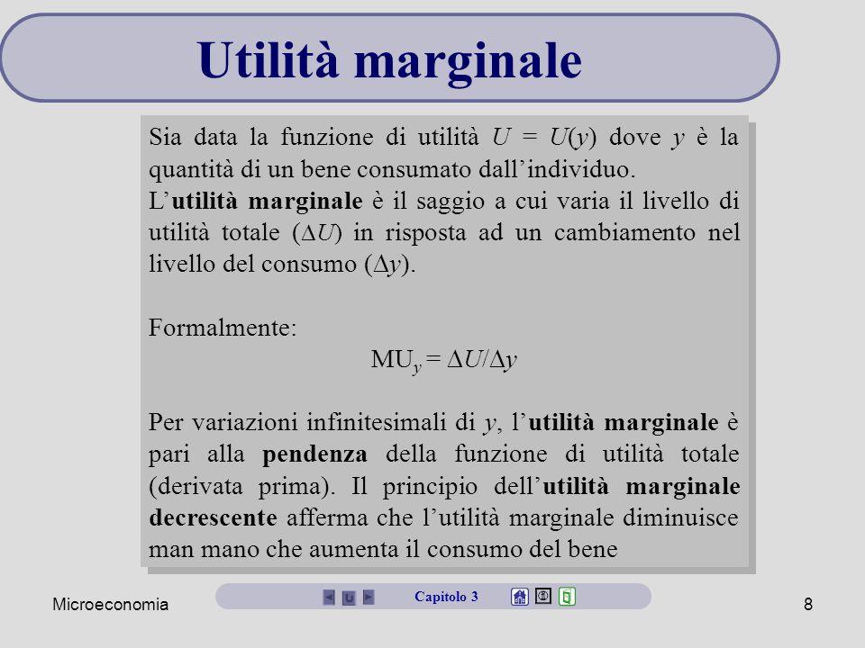 Utilità marginale Sia data la funzione di utilità U = U(y) dove y è la quantità di un bene consumato dall'individuo.
