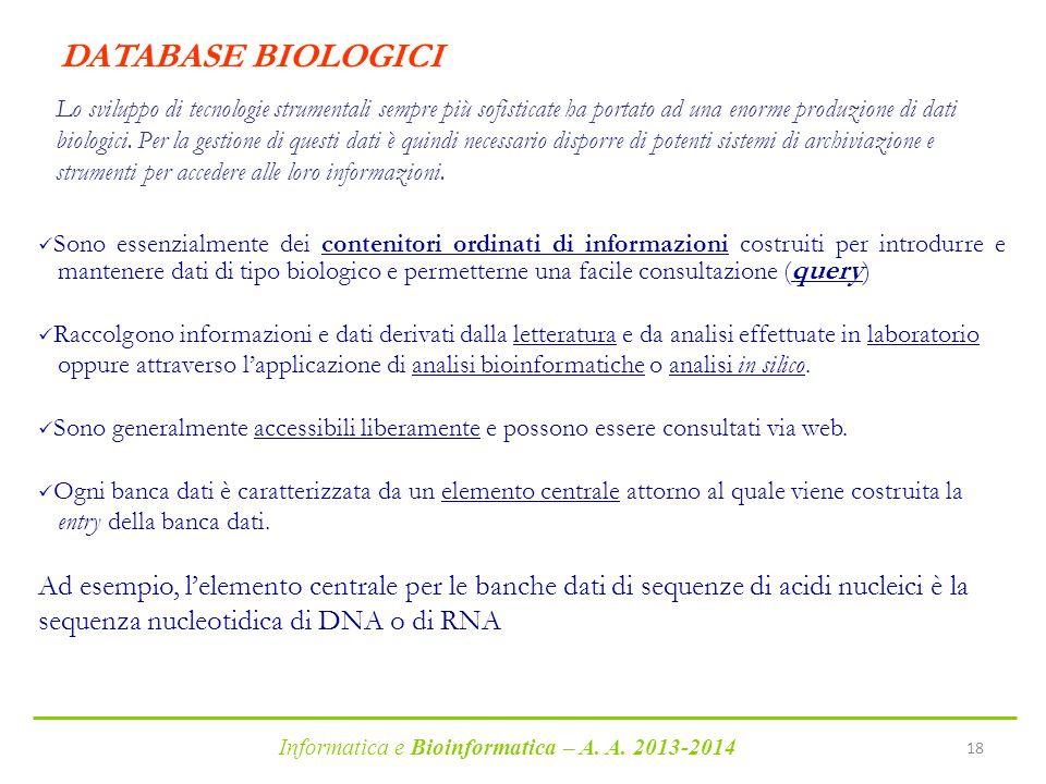 DATABASE BIOLOGICI