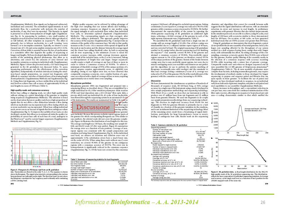 Discussione Informatica e Bioinformatica – A. A. 2013-2014