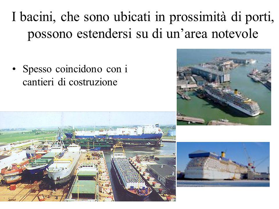 I bacini, che sono ubicati in prossimità di porti, possono estendersi su di un'area notevole