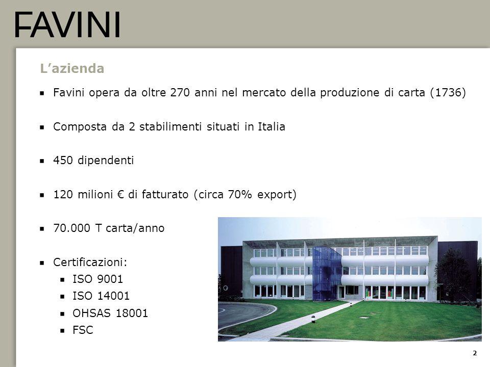 L'azienda Favini opera da oltre 270 anni nel mercato della produzione di carta (1736) Composta da 2 stabilimenti situati in Italia.