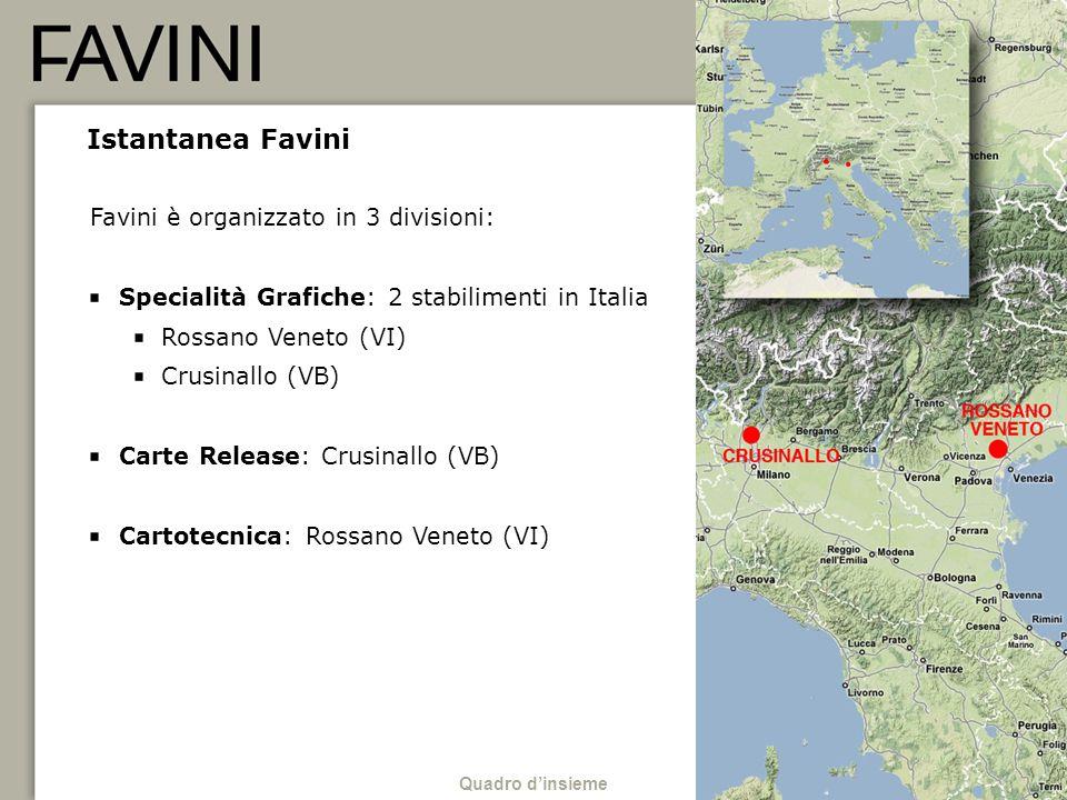 Istantanea Favini Favini è organizzato in 3 divisioni: