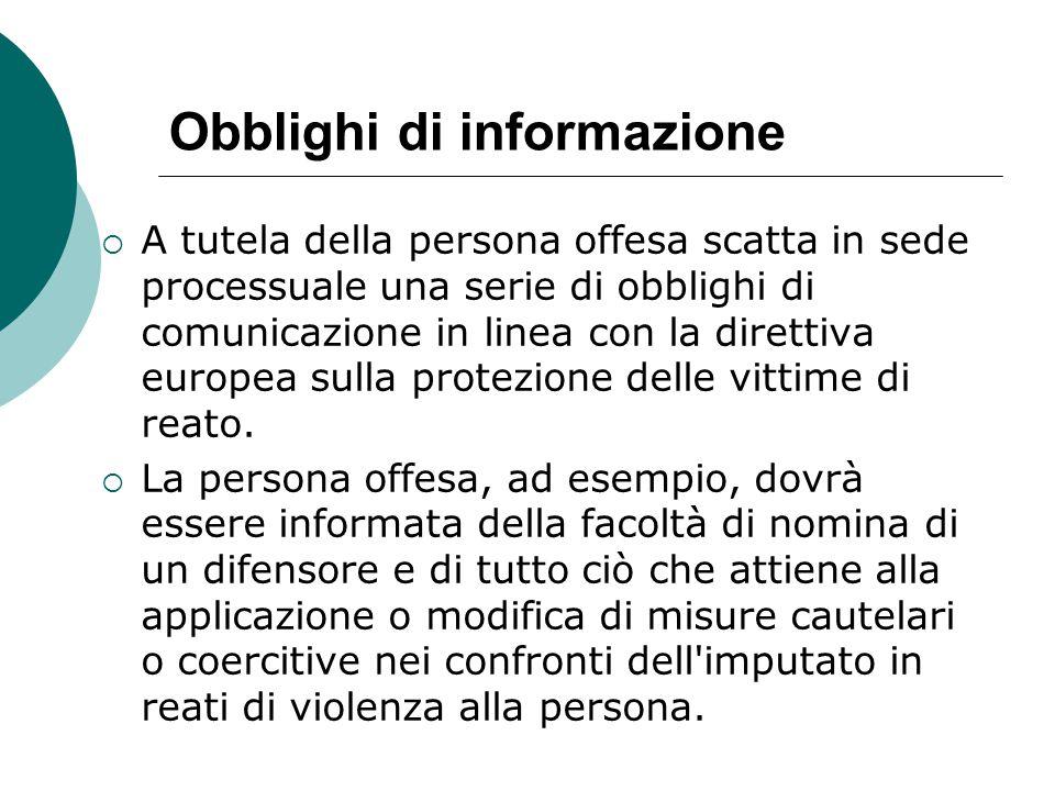Obblighi di informazione