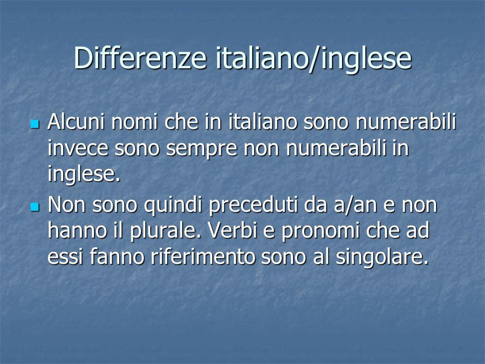 Differenze italiano/inglese