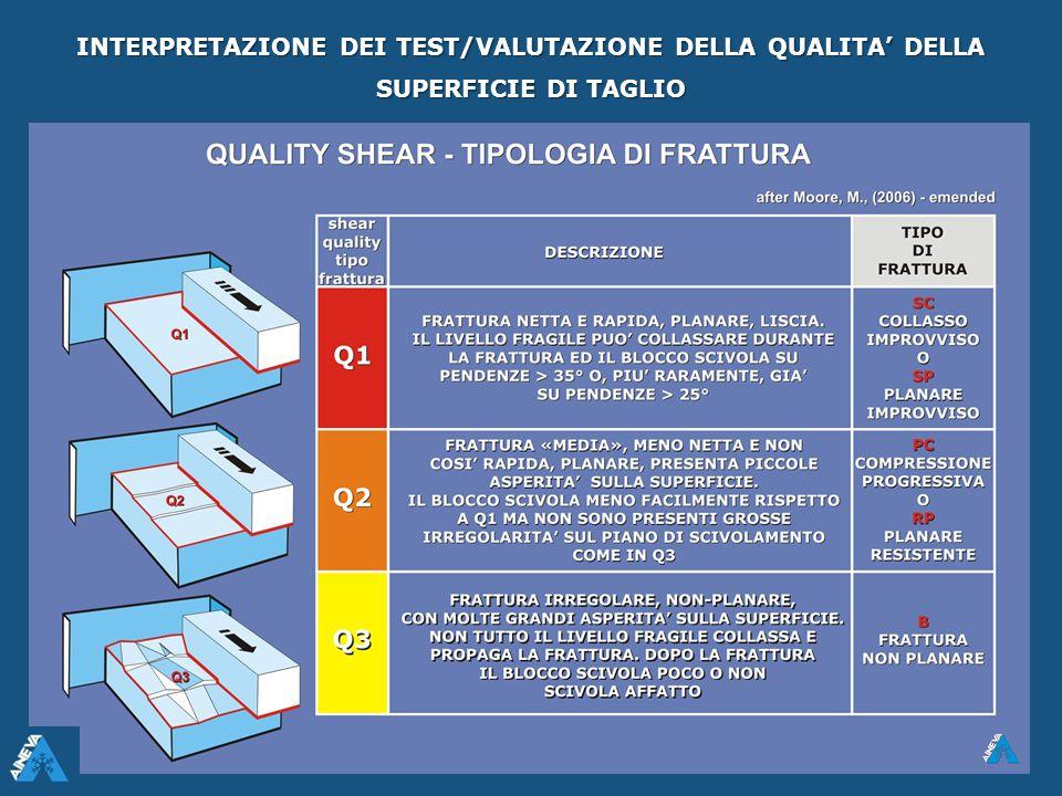INTERPRETAZIONE DEI TEST/VALUTAZIONE DELLA QUALITA' DELLA SUPERFICIE DI TAGLIO