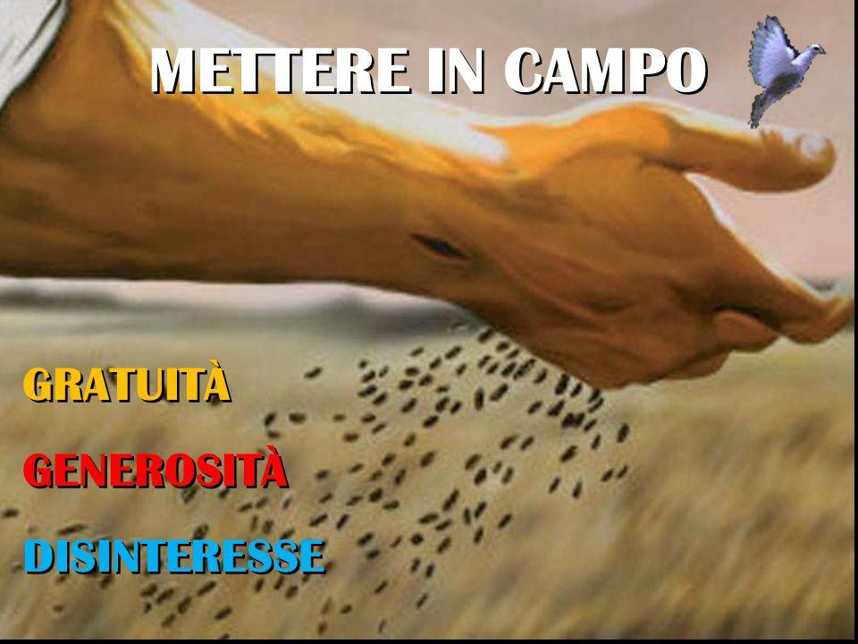 METTERE IN CAMPO GRATUITÀ GENEROSITÀ DISINTERESSE
