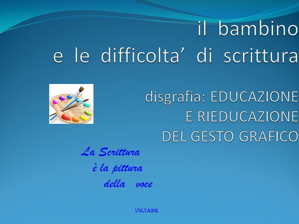 il bambino e le difficolta' di scrittura disgrafia: EDUCAZIONE E RIEDUCAZIONE DEL GESTO GRAFICO