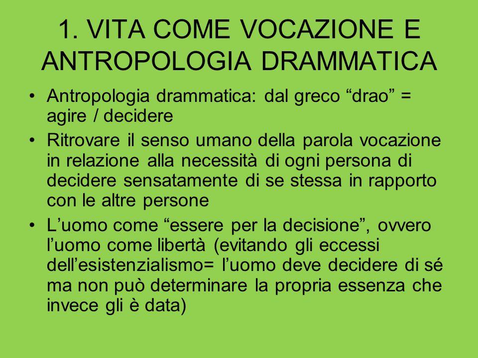 1. VITA COME VOCAZIONE E ANTROPOLOGIA DRAMMATICA