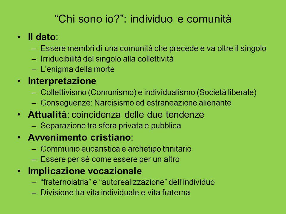 Chi sono io : individuo e comunità