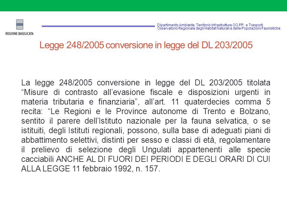 Legge 248/2005 conversione in legge del DL 203/2005