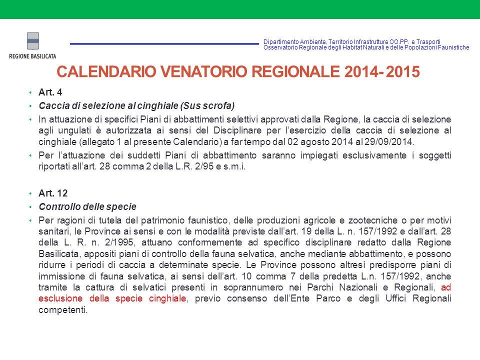CALENDARIO VENATORIO REGIONALE 2014- 2015