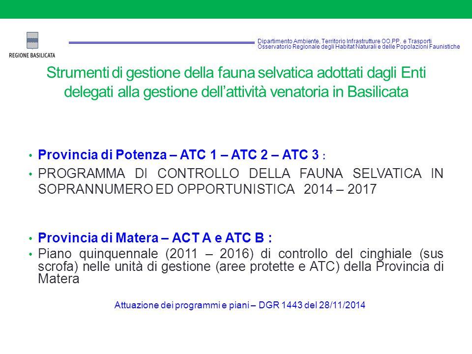Attuazione dei programmi e piani – DGR 1443 del 28/11/2014