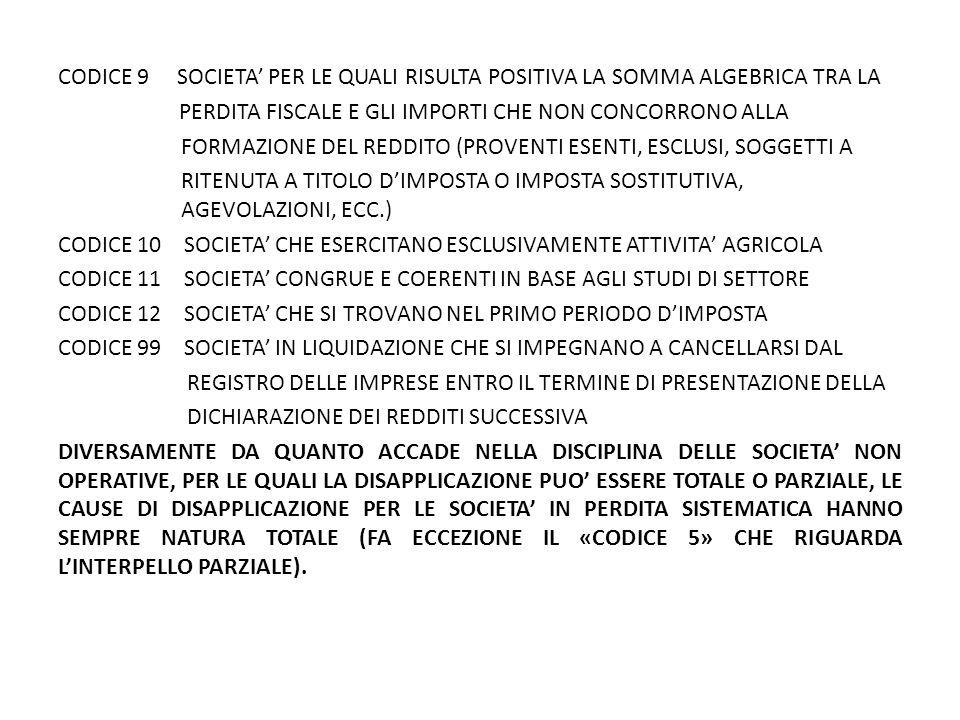 CODICE 9 SOCIETA' PER LE QUALI RISULTA POSITIVA LA SOMMA ALGEBRICA TRA LA PERDITA FISCALE E GLI IMPORTI CHE NON CONCORRONO ALLA FORMAZIONE DEL REDDITO (PROVENTI ESENTI, ESCLUSI, SOGGETTI A RITENUTA A TITOLO D'IMPOSTA O IMPOSTA SOSTITUTIVA, AGEVOLAZIONI, ECC.) CODICE 10 SOCIETA' CHE ESERCITANO ESCLUSIVAMENTE ATTIVITA' AGRICOLA CODICE 11 SOCIETA' CONGRUE E COERENTI IN BASE AGLI STUDI DI SETTORE CODICE 12 SOCIETA' CHE SI TROVANO NEL PRIMO PERIODO D'IMPOSTA CODICE 99 SOCIETA' IN LIQUIDAZIONE CHE SI IMPEGNANO A CANCELLARSI DAL REGISTRO DELLE IMPRESE ENTRO IL TERMINE DI PRESENTAZIONE DELLA DICHIARAZIONE DEI REDDITI SUCCESSIVA DIVERSAMENTE DA QUANTO ACCADE NELLA DISCIPLINA DELLE SOCIETA' NON OPERATIVE, PER LE QUALI LA DISAPPLICAZIONE PUO' ESSERE TOTALE O PARZIALE, LE CAUSE DI DISAPPLICAZIONE PER LE SOCIETA' IN PERDITA SISTEMATICA HANNO SEMPRE NATURA TOTALE (FA ECCEZIONE IL «CODICE 5» CHE RIGUARDA L'INTERPELLO PARZIALE).