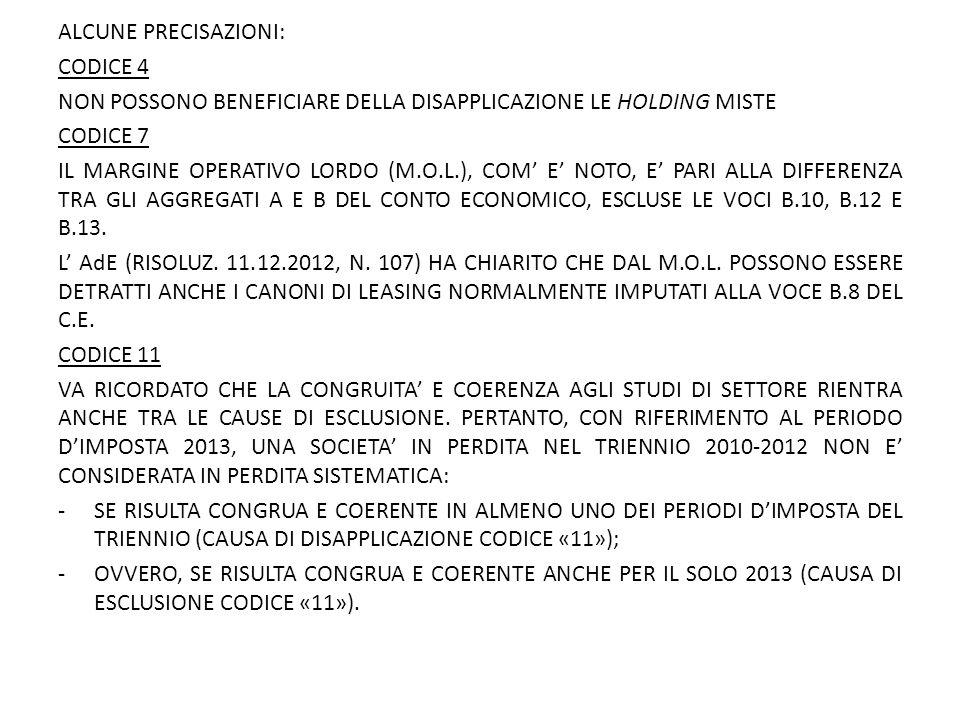 ALCUNE PRECISAZIONI: CODICE 4. NON POSSONO BENEFICIARE DELLA DISAPPLICAZIONE LE HOLDING MISTE. CODICE 7.