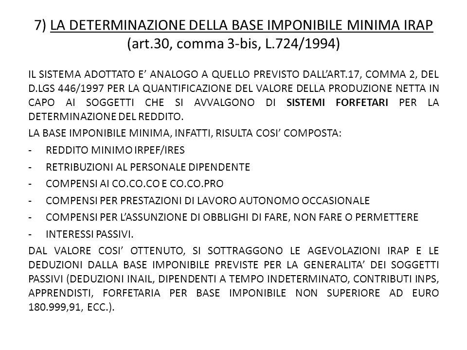 7) LA DETERMINAZIONE DELLA BASE IMPONIBILE MINIMA IRAP (art