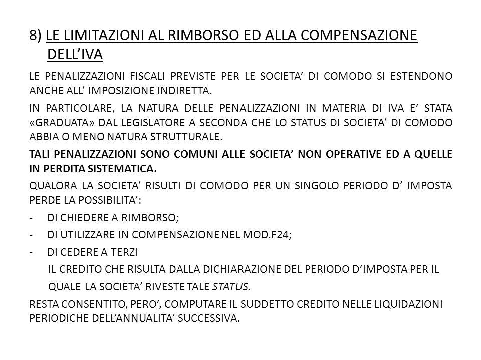 8) LE LIMITAZIONI AL RIMBORSO ED ALLA COMPENSAZIONE DELL'IVA
