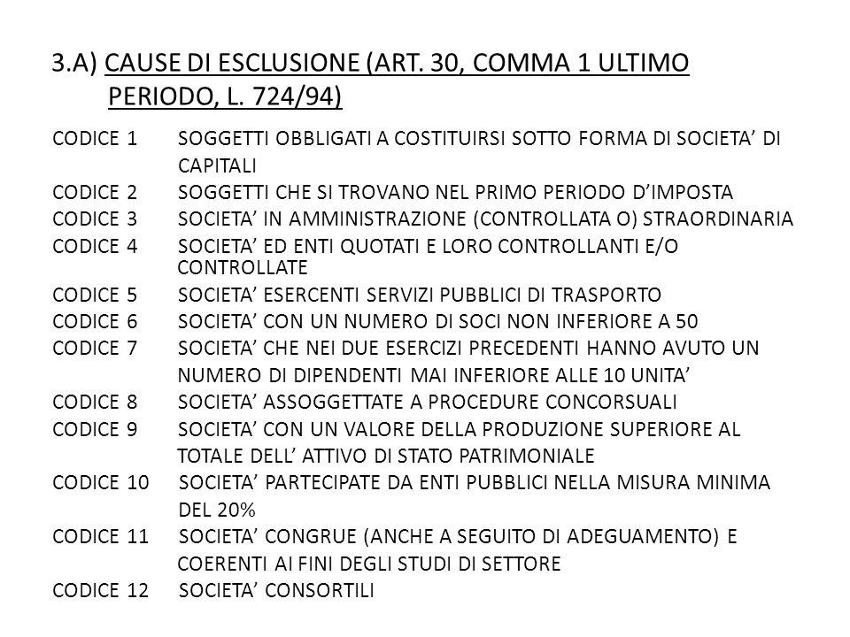 3.A) CAUSE DI ESCLUSIONE (ART. 30, COMMA 1 ULTIMO PERIODO, L. 724/94)