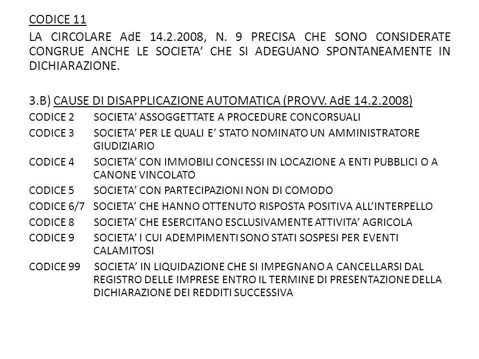 3.B) CAUSE DI DISAPPLICAZIONE AUTOMATICA (PROVV. AdE 14.2.2008)