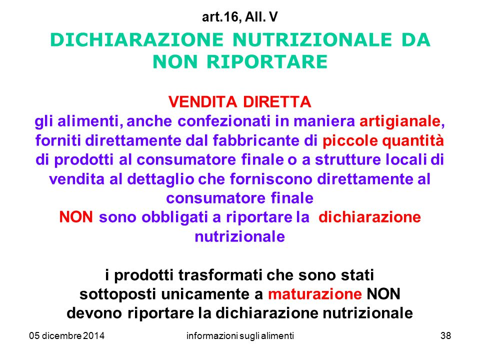informazioni sugli alimenti