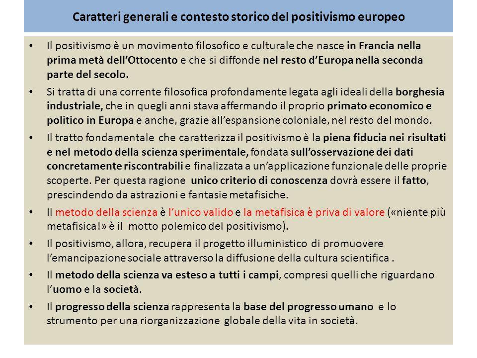 Caratteri generali e contesto storico del positivismo europeo