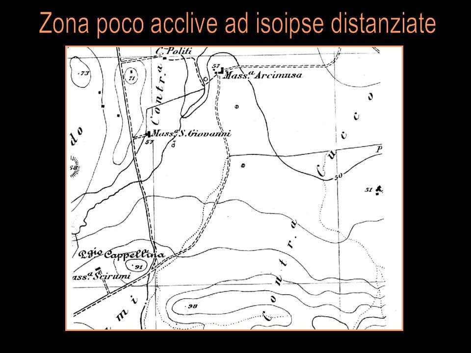 Zona poco acclive ad isoipse distanziate