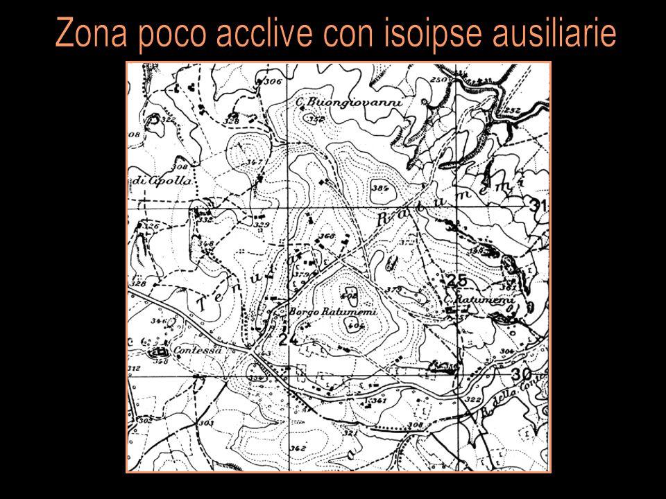 Zona poco acclive con isoipse ausiliarie