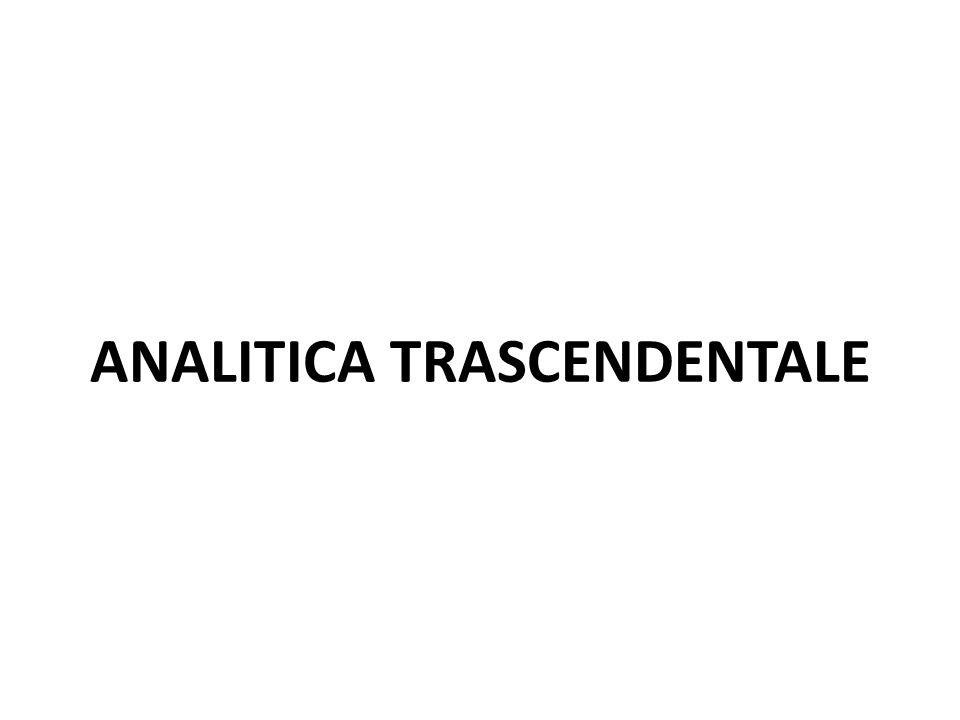 ANALITICA TRASCENDENTALE