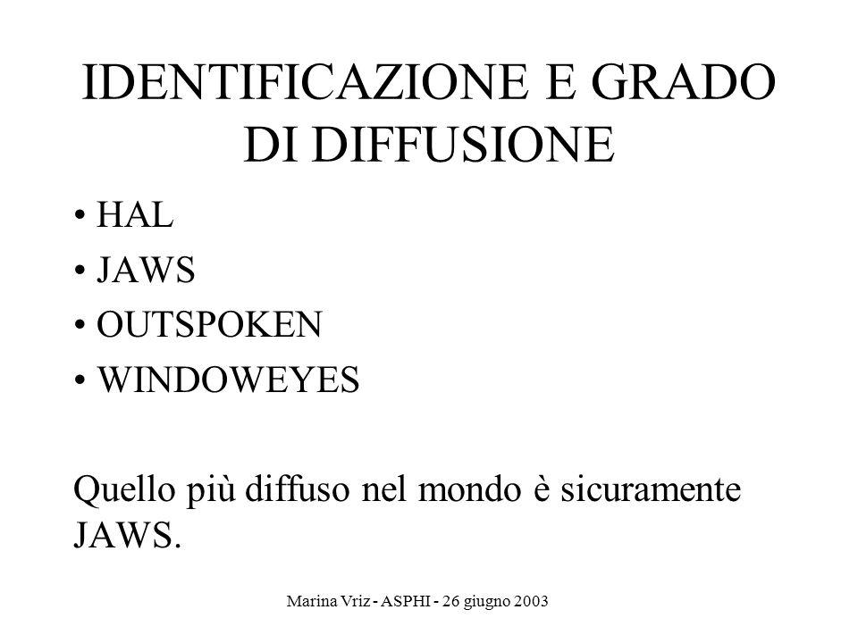 IDENTIFICAZIONE E GRADO DI DIFFUSIONE