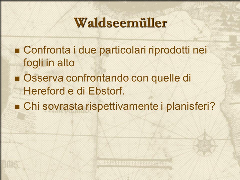 Waldseemüller Confronta i due particolari riprodotti nei fogli in alto