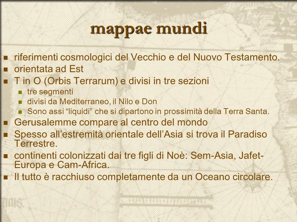 mappae mundi riferimenti cosmologici del Vecchio e del Nuovo Testamento. orientata ad Est. T in O (Orbis Terrarum) e divisi in tre sezioni.