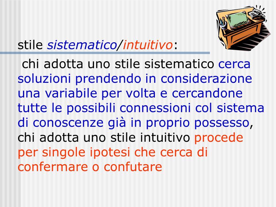 stile sistematico/intuitivo: