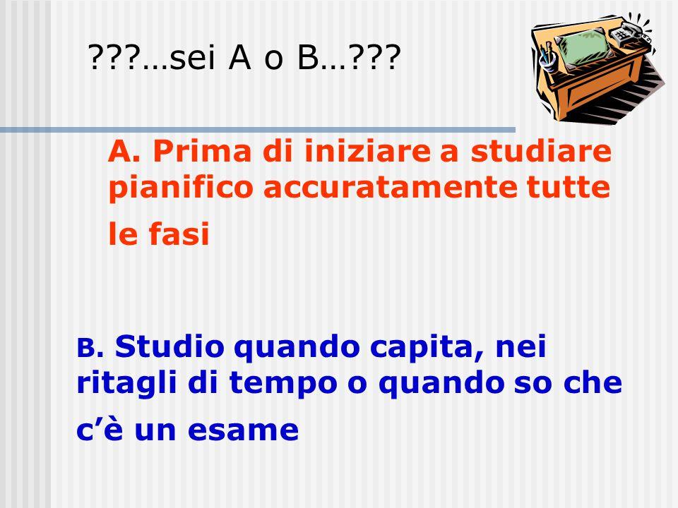 …sei A o B… A. Prima di iniziare a studiare pianifico accuratamente tutte le fasi.