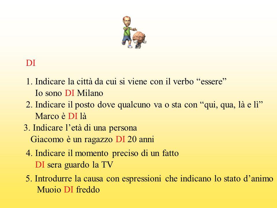 DI 1. Indicare la città da cui si viene con il verbo essere Io sono DI Milano.