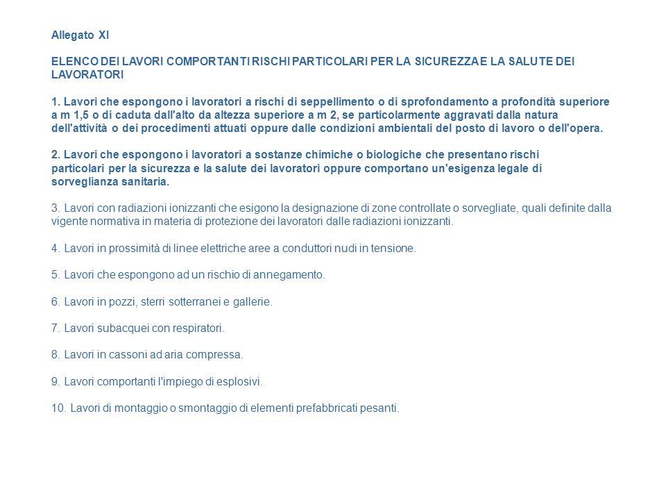 Allegato XI ELENCO DEI LAVORI COMPORTANTI RISCHI PARTICOLARI PER LA SICUREZZA E LA SALUTE DEI LAVORATORI.